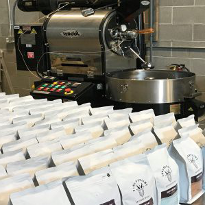 coffee roaster and beans